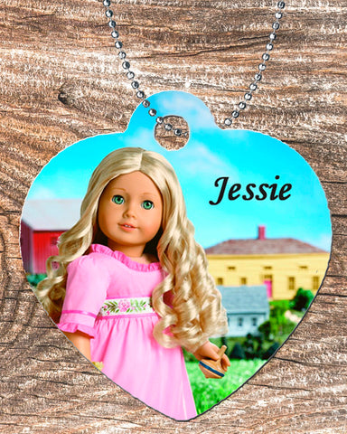 "Personalized Heart Pendant Necklace Free Ball Chain Blonde 18"" Doll"