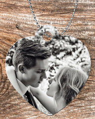 Personalized Heart Pendant Necklace Free Ball Chain Christmas Photo Picture Couple Wedding