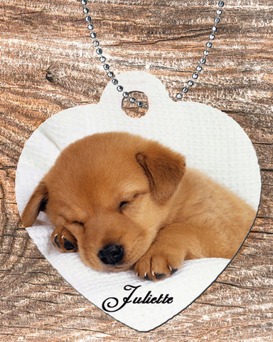 Personalized Heart Pendant Necklace Free Ball Chain Cute Sleeping Puppy
