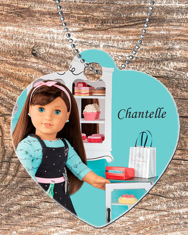 "Personalized Heart Pendant Necklace Free Ball Chain Brunette 18"" Doll"