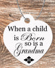 Image of Personalized Heart Pendant Necklace Free Ball Chain When A Child Is Born So Is A Grandma