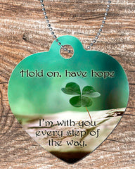 Personalized Heart Pendant Necklace Free Ball Chain Hold On Have Faith Four Leaf Clover