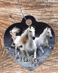 Personalized Heart Pendant Necklace Free Ball Chain Horse Lover Any Name