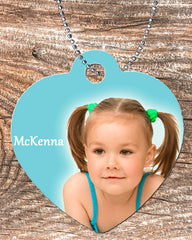 Personalized Heart Pendant Necklace Free Ball Chain Picture Photo of your Child