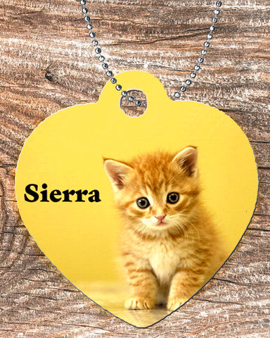 Personalized Heart Pendant Necklace Free Ball Chain Kitten Cat Lover