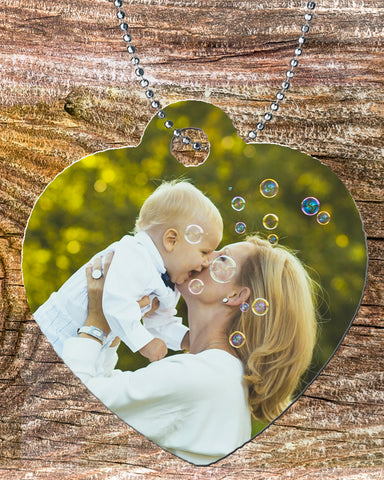 Personalized Heart Pendant Necklace Free Ball Chain Photo of Mother and Child