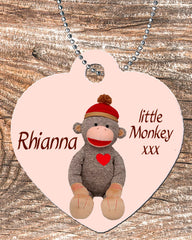 Personalized Heart Pendant Necklace Free Ball Chain Sock Monkey