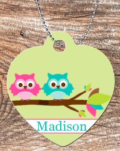 Personalized Heart Pendant Necklace Free Ball Chain Cute Owls Best Friends