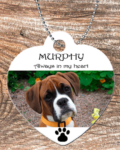 Personalized Heart Pendant Necklace Free Ball Chain Pet loss Memorial