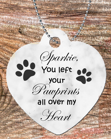 Personalized Heart Pendant Necklace Free Ball Chain Pet loss Memorial You left your Pawrints