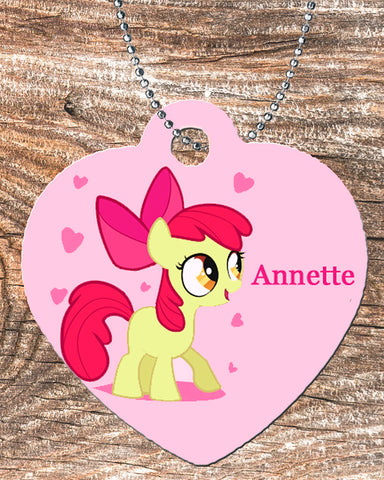 Personalized Heart Pendant Necklace Free Ball Chain Pony For Girl's Gift