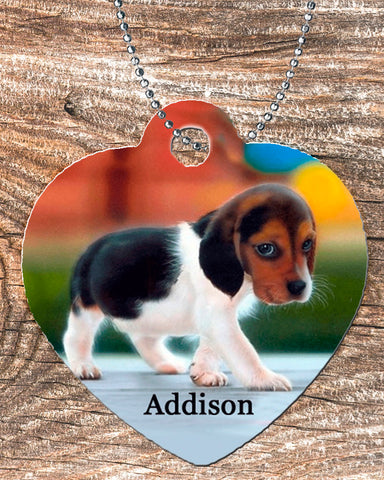 Personalized Heart Pendant Necklace Free Ball Chain Sad Puppy Dog Eyes