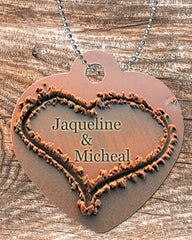 Personalized Heart Pendant Necklace Free Ball Chain Names Written In The Sand