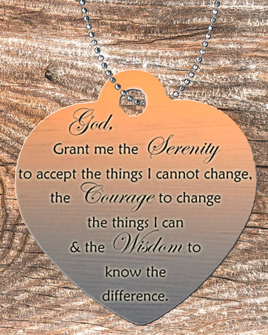Personalized Heart Pendant Necklace Free Ball Chain Serenity Prayer