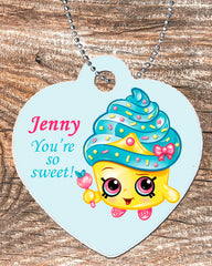Personalized Heart Pendant Necklace Free Ball Sweet Treat Candy Cupcake