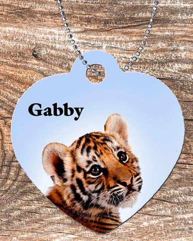Personalized Heart Pendant Necklace Free Ball Chain Tiger Cheetah