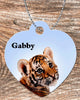 Image of Personalized Heart Pendant Necklace Free Ball Chain Tiger Cheetah