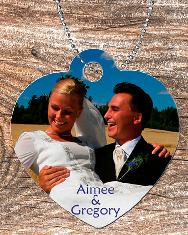 Personalized Heart Pendant Necklace Free Ball Chain Wedding Photo