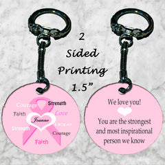 Personalized Key Chain Ring Breast Cancer pink Ribbon Hope Strenth Ecouragement