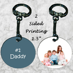 Personalized Key Chain Ring #1 Daddy Kids photo Picture Father's Day Gift Dad