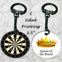 Personalized Key Chain Ring Dart Player Gift King Queen of the Board Christmas
