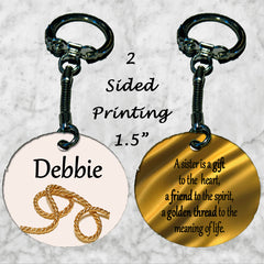 Personalized Key Chain Ring Sister Best Friend Gift Birthday Present Thread Gold