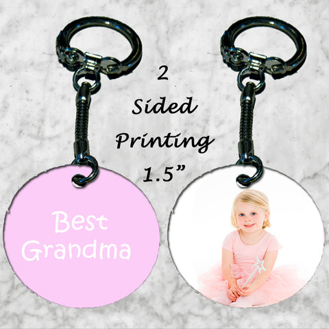 Personalized Key Chain Ring Best Grandma Grandchild Photo Picture Christmas Gift
