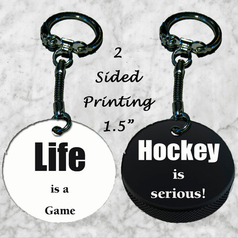 Personalized Key Chain Ring Life is a Game Hockey Serious Dad Son Christmas Gift