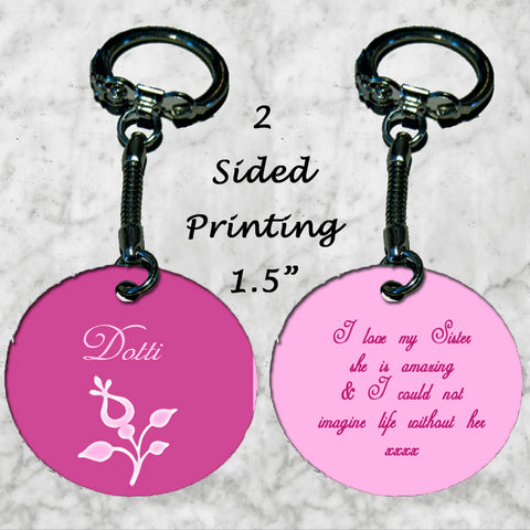Personalized Key Chain Ring I love My Sister Birthday Christmas Gift Aunt Mom