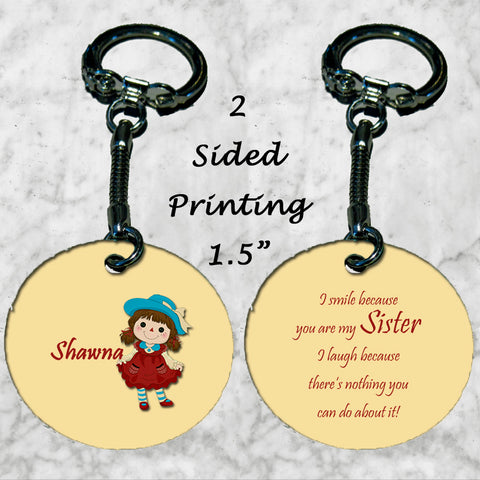 Personalized Key Chain  smile because you're my sister