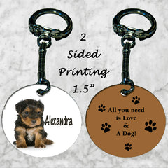 Personalized Key Chain Ring All you need is love and a dog cute puppy girl gift
