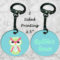 Personalized Key Chain Cute Owl House Cottage Key