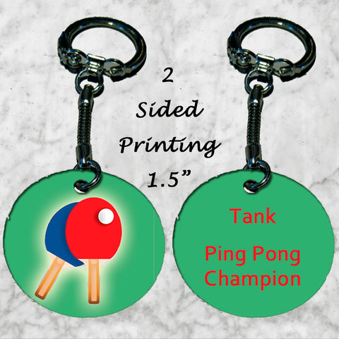 Personalized Key Chain Ping Pong Champion