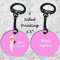 Personalized Key Chain Sexy Blonde Nurse Gift