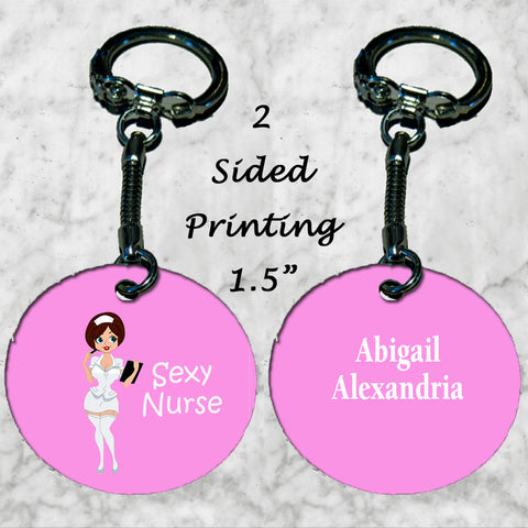 Personalized Key Chain Sexy Brunette Nurse Gift