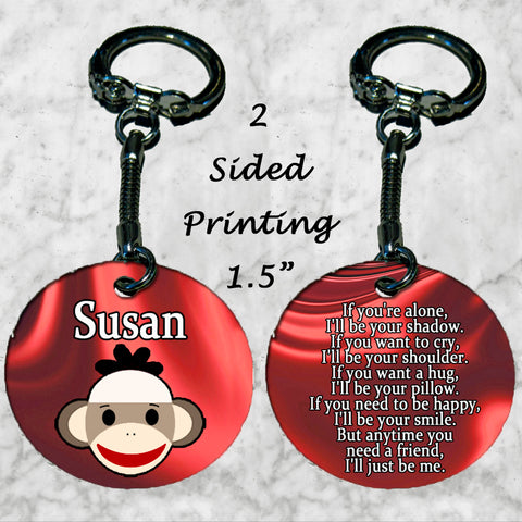 Personalized Key Chain Sock Monkey Beautiful Quote About Friendship