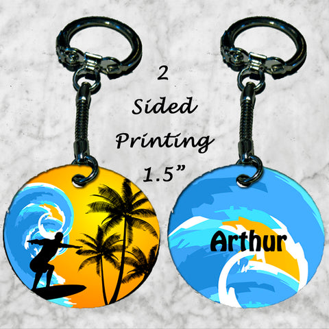 Personalized Key Chain Surfer Surfing Gift