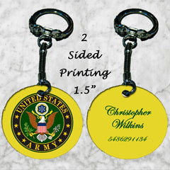 Personalized Key Chain United States Army Logo and Name