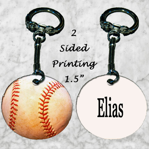 Personalized Key Chain Baseball Ball Fan Gift Idea