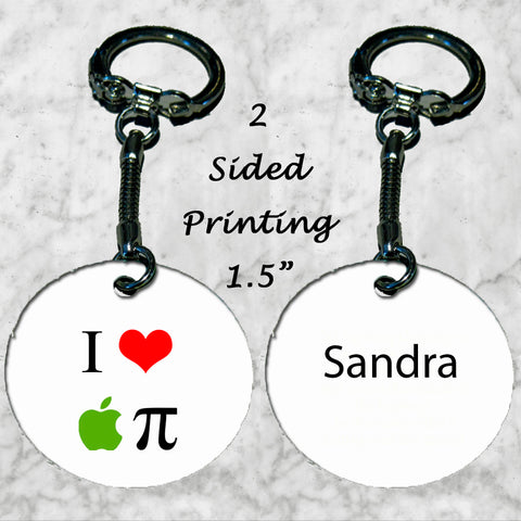 Personalized Key Chain I Love Apple Pie Math Teacher Gift
