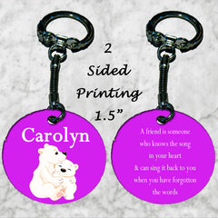 Personalized Key Chain Polar Bear Friend Knows The Song In Your Heart