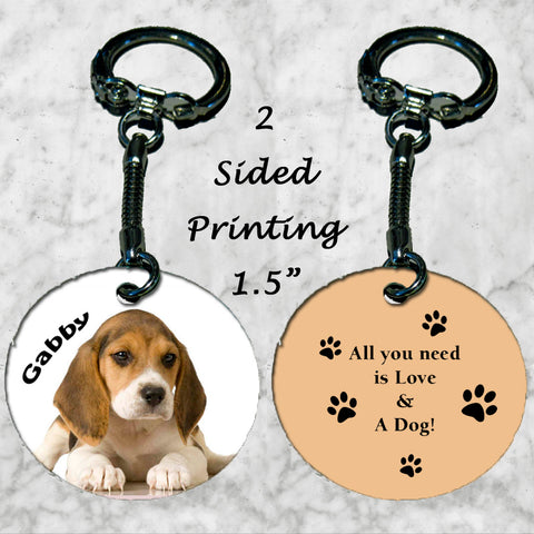 Personalized Key Chain All you need is love and a dog Miniature Beagle