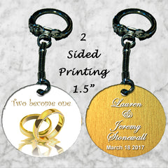 Personalized Key Chain Two Become One Wedding Bands Gift Idea