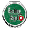 Image of Personalized Round Mirror Compact Teaching is a Work of Heart Teacher Gift New Qualified Gift