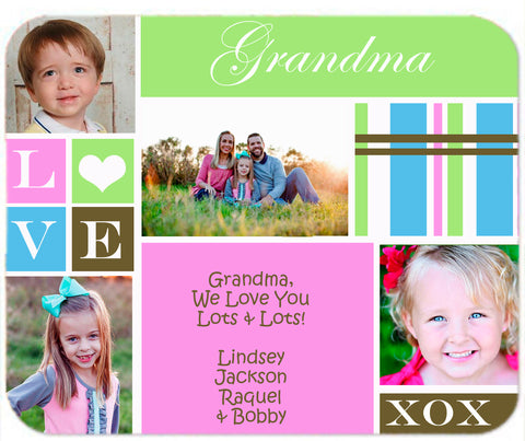 Personalized Mouse Pad Grandma Mom Aunt Any ANem with Photos Pictures of your Family