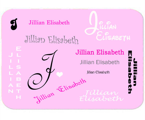 Personalized Mouse Pad Any Name All Fonts Pink Purple White Mousepad Design