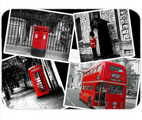 Personalized Mouse Pad London Black White & Red Bus Guard Post Box