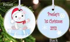 Personalized Christmas Ornament Baby Bear Baby's 1st Christmas Santa Hat Gift