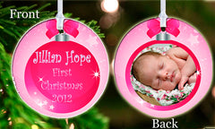 Personalized Christmas Ornament Pink Baby Photo Picture Baby's 1st Christmas ideal keepsake Gift