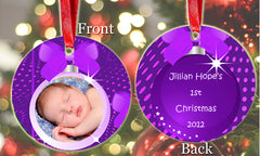 Personalized Christmas Ornament Purple Baby Photo Picture Baby's 1st Christmas ideal keepsake Gift